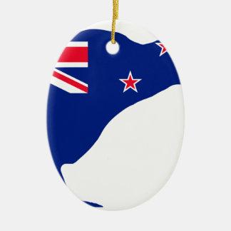 New Zealand Flag With Kiwi SIlhouette Ceramic Ornament