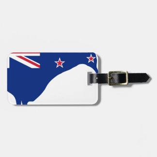 New Zealand Flag With Kiwi SIlhouette Luggage Tag