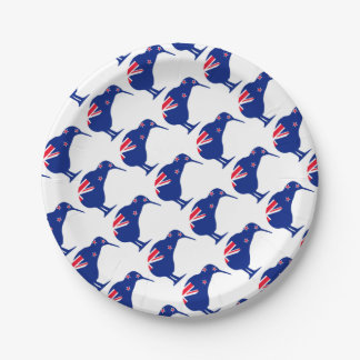 New Zealand Flag With Kiwi SIlhouette Paper Plate