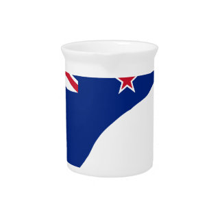 New Zealand Flag With Kiwi SIlhouette Pitcher