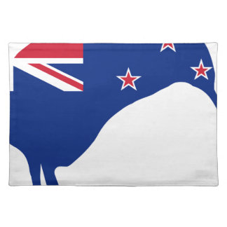 New Zealand Flag With Kiwi SIlhouette Placemat