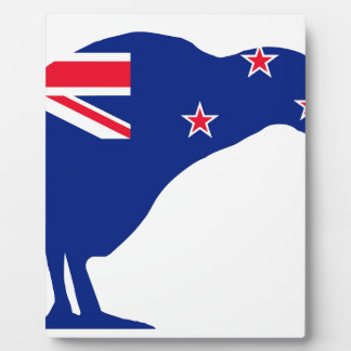 New Zealand Flag With Kiwi SIlhouette Plaque