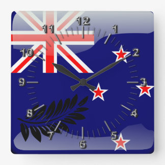 New Zealand glossy flag Square Wall Clock