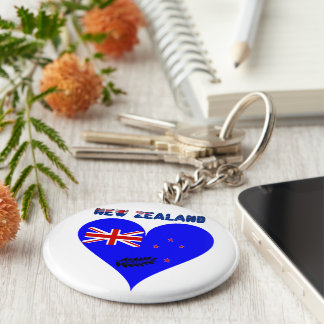 New Zealand heart flag Key Ring