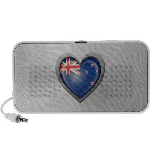 New Zealand Heart Flag Stainless Steel Effect iPod Speaker