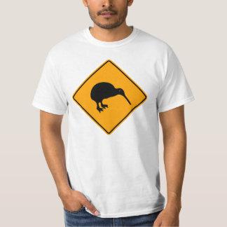New Zealand Kiwi Icon Warning Yellow Diamond Sign T-Shirt