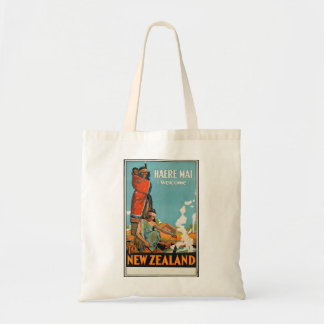 New Zealand Maori Retro Vintage Travel Poster Tote Bag