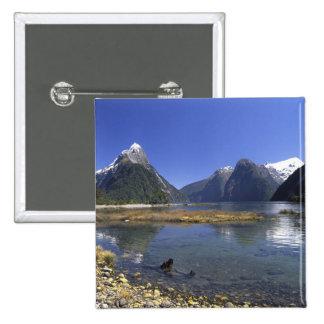 New Zealand, Mitre Peak & Milford Sound, 15 Cm Square Badge