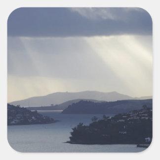 New Zealand, Otago, Dunedin, Light Shafts over Square Sticker