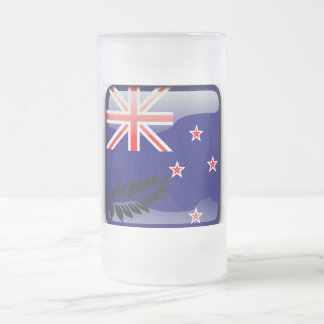 New Zealand polished flag Frosted Glass Beer Mug