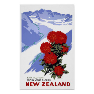 New Zealand Rata Blossom Vintage Travel Poster