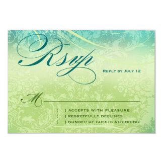 NEW ZEALAND RSVP Vintage Blue Green Linen Paper Custom Announcements