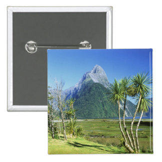 New Zealand, South Island,  Mitre Peak, 15 Cm Square Badge