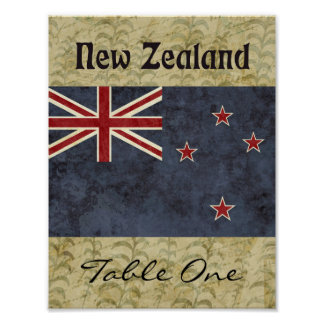 New Zealand Table Number Poster