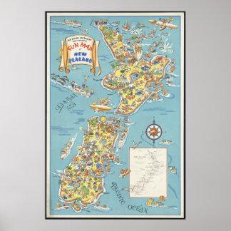 New Zealand Vintage Travel Poster Ad Retro Prints