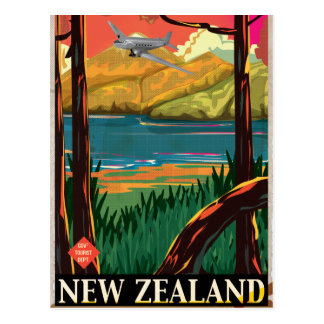 New Zealand Vintage Travel Poster Post Card