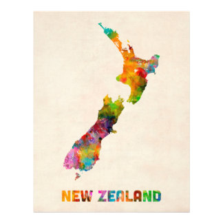 New Zealand Watercolor Map Full Colour Flyer