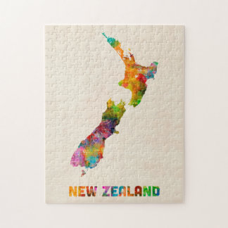 New Zealand, Watercolor Map Jigsaw Puzzle