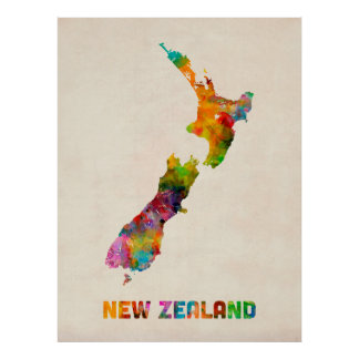 New Zealand, Watercolor Map Poster