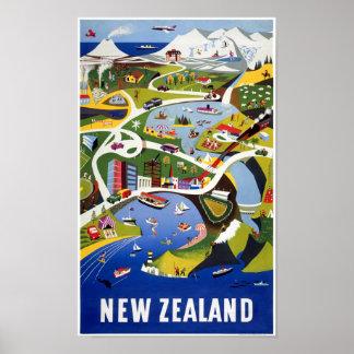 New Zealand Wellington Vintage Travel Poster