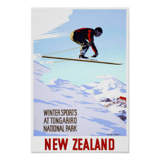 New Zealand Winter Sports Vintage Travel Poster