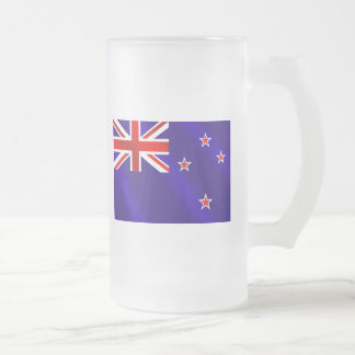 New Zealanders flag of New Zealand Kiwi gifts Frosted Glass Beer Mug