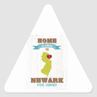 Newark, New Jersey Map – Home Is Where The Heart Triangle Sticker