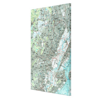 Newark NJ and Surrounding Areas Map (1986) Canvas Print