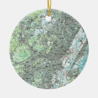 Newark NJ and Surrounding Areas Map (1986) Ceramic Ornament