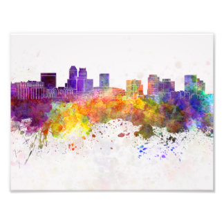 Newark skyline in watercolor background photo