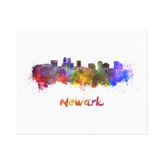 Newark skyline in watercolor canvas print