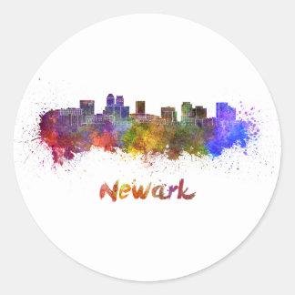 Newark skyline in watercolor classic round sticker