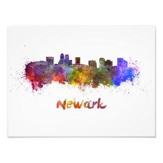 Newark skyline in watercolor photo print