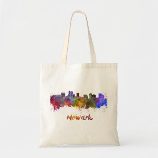 Newark skyline in watercolor tote bag