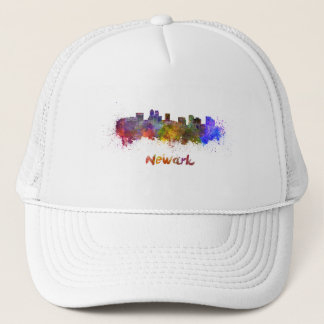 Newark skyline in watercolor trucker hat