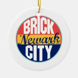 Newark Vintage Label Ceramic Ornament