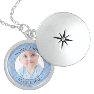 Newborn Baby Boy Blue Plaid Dated Keepsake Locket Necklace