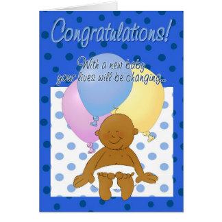 Newborn baby boy congratulations cartoon card