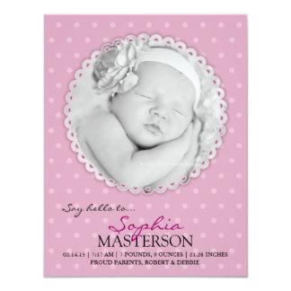 Newborn Baby Girl Flat Announcement Card