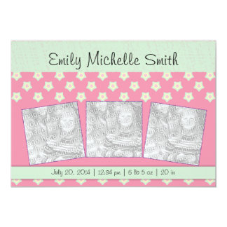 Newborn Baby Girl Green Dark Pink Stars Announceme 13 Cm X 18 Cm Invitation Card