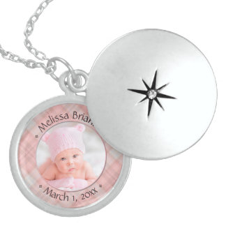 Newborn Baby Girl Pink Plaid Dated Keepsake Sterling Silver Necklace