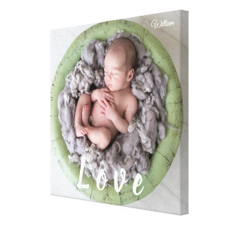 Newborn Baby Love Photo Picture Personalized Name Canvas Print