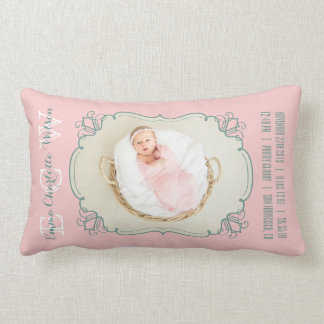 Newborn Baby Photo Monogram Blush Pink Green Frame Lumbar Cushion