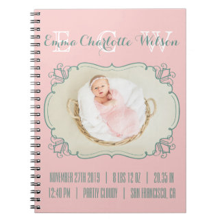 Newborn Baby Photo Monogram Blush Pink Green Frame Notebooks