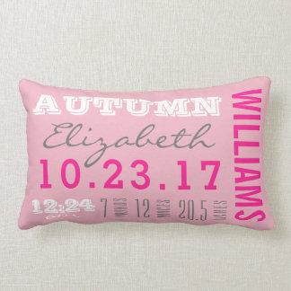 Newborn Birth Details Pillow | Baby Girl Pink
