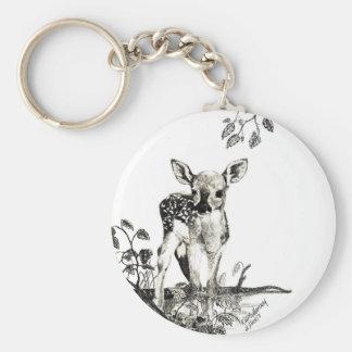 newborn fawn 2 basic round button key ring