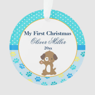Newborn First Christmas Ornament Baby Boy Puppy