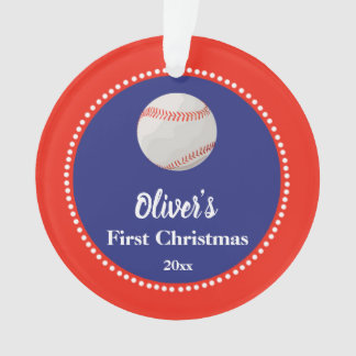Newborn First Christmas Ornament Baseball Red Blue
