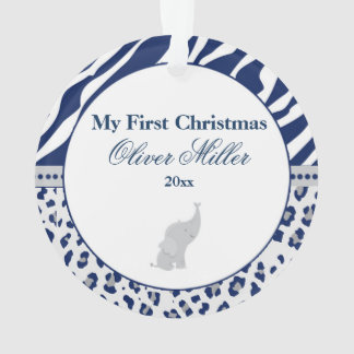 Newborn First Christmas Ornament Blue Elephant