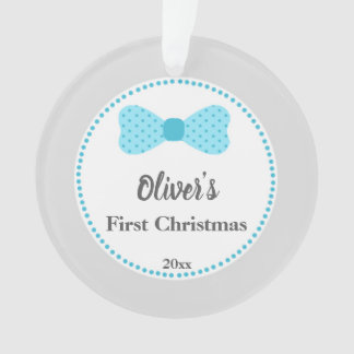 Newborn First Christmas Ornament Bow Tie Blue